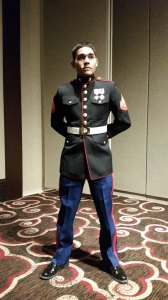 Corporal Neph Ramos, also a 2012 Conant High School graduate, at an event wearing his dress blues uniform.