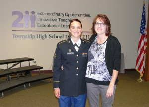 Krystal poses with her mother at the July 16 Board of Education meeting.