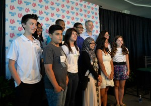 Palatine High School students attended the Harper College event and posed with U.S. Secretary of Education Arne Duncan (top right).