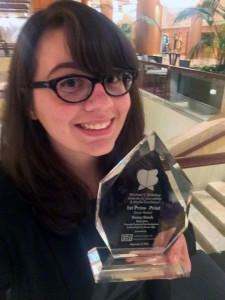 The FHS alumna recieved the Michael E. DeBakey award for an article she wrote about biomedical research involving dogs.