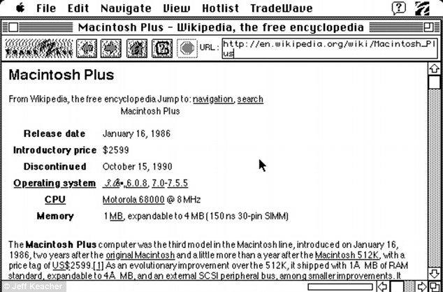 Navega la web(www) con un Macintosh Plus de 1986