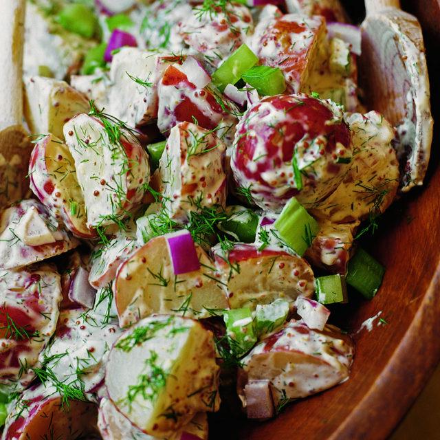 red kitchen knife set metallic wall tiles old-fashioned potato salad   recipes barefoot contessa