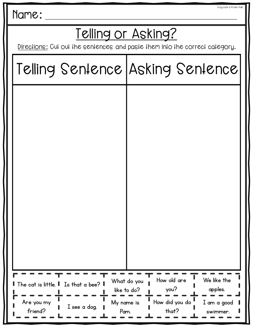 medium resolution of Types of Sentences Worksheets- Telling and Asking Sentences from Kinder Pals