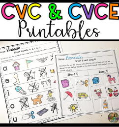 CVC and CVCE Worksheets from Kinder Pals [ 1152 x 1152 Pixel ]