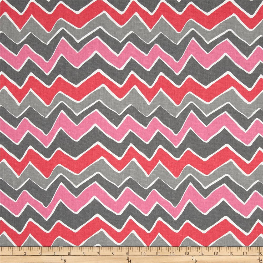 Premier Prints pattern See Saw in flamingo colorway (gray, pink, red, and white)