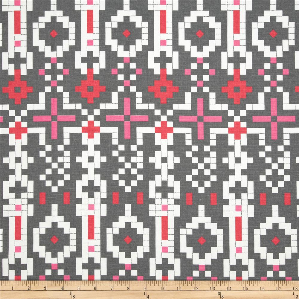 Premier Fabric's pattern Mosaic in colorway Flamingo (pink, red, gray, and white)