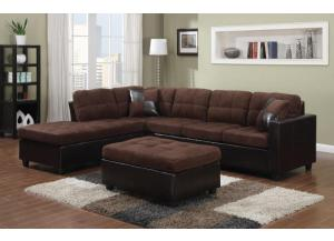 sectional with free ottoman dark brown