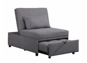 chair to bed convertible swivel club leather brandywine furniture wilmington de with gray cloth pillow