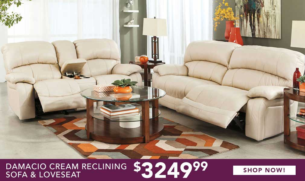 living room sets for sale cheap mirror designs buy discount furniture at our havelock nc home store damacio cream reclining sofa loveseat