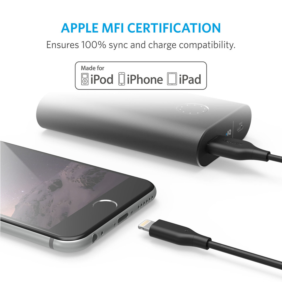 apple mfi certified charging cable for iphone x 8 8 plus 7 7 plus 6s 6s plus 6 6 plus 5 5s 5c ipad mini air pro ipod touch [ 960 x 960 Pixel ]
