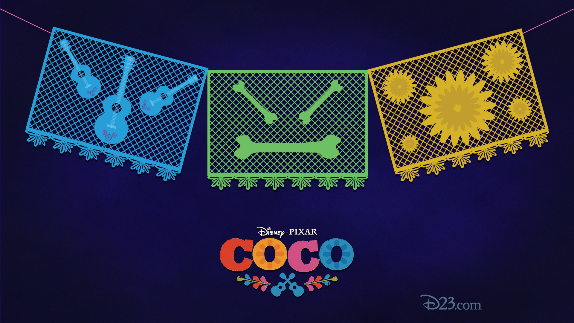Celebrate DisneyPixars Coco With These Papel Picado Inspired Wallpapers D23