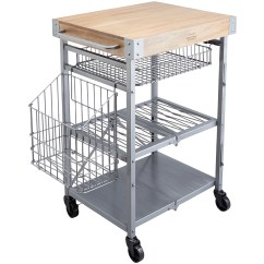 Folding Kitchen Cart Converter Industrial Trolley With Mango Wood Butcher S Block Image