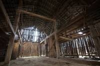 Interior of an old barn in rural south central Kentucky ...