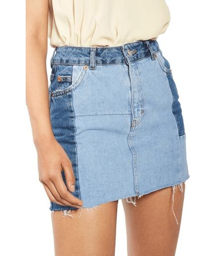 Topshop Colorblock Denim Miniskirt