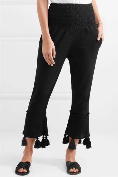 Sensi Studio Cropped Tassle Crinkle-Cotton Pants
