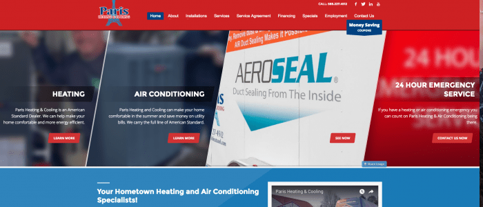 website design for Paris Heating & Cooling