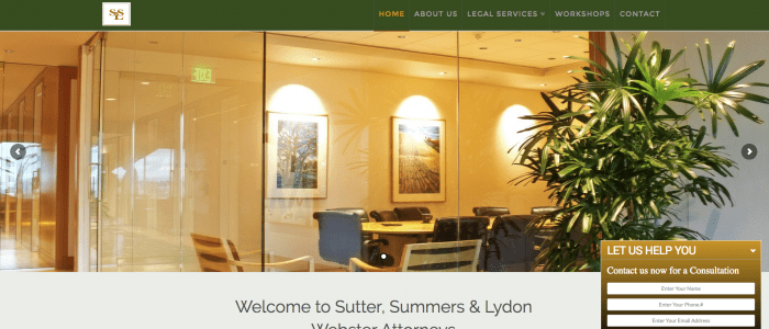 Website design for Sutter, Summ & Lydon