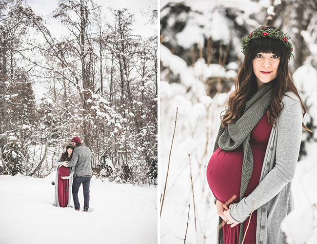 Winter Woodland Maternity Photos Inspired By This