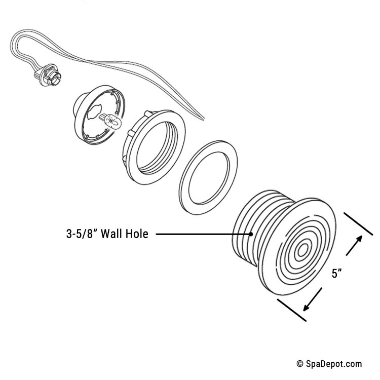 Spa Light Wall Lens Assembly 5