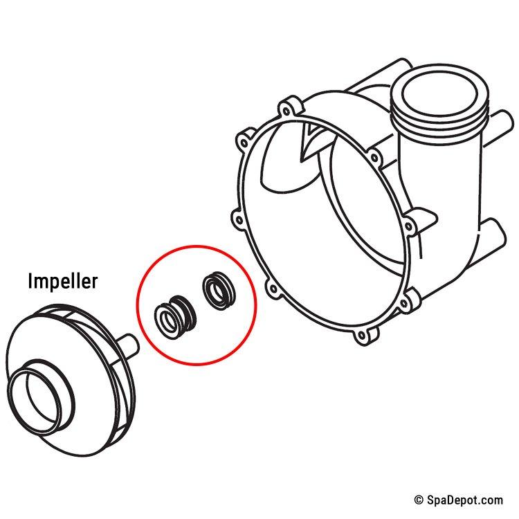 Hot Tub Pump Seal for Waterway / AquaFlo Pumps PS-1000
