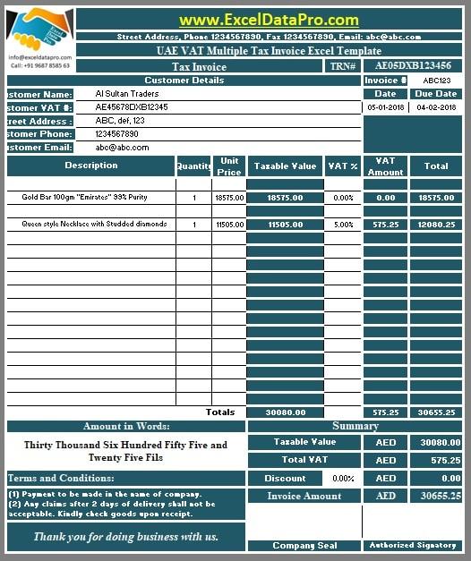 vat invoice format