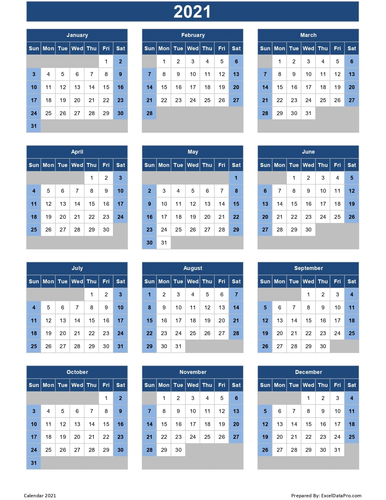 In addition to providing a fresh start, a new calendar can keep you organiz. Calendar 2021 Excel Templates, Printable PDFs & Images ...