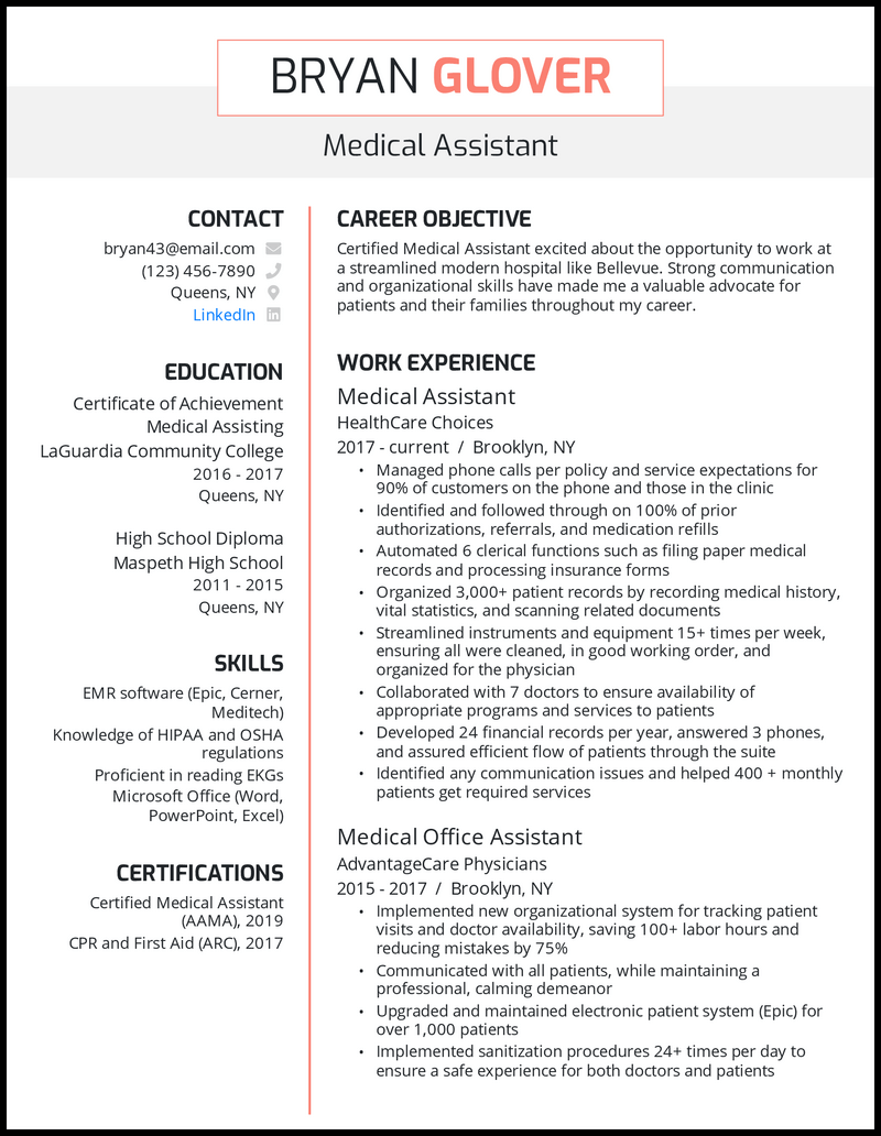 Medical assistants have a wide range of responsibilities. 5 Medical Assistant Resume Samples For 2021