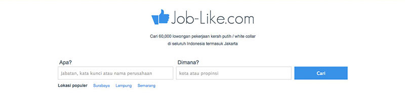 Halaman muka Job-Like | Screenshot
