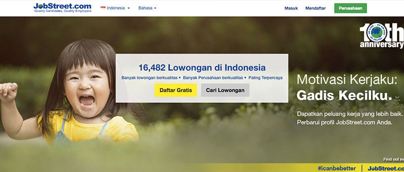 Halaman muka JobStreet | Screenshot