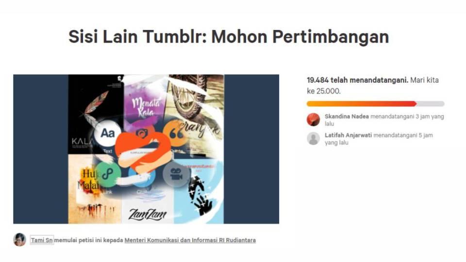 Petisi Change.org mengenai pencabutan pemblokiran Tumblr