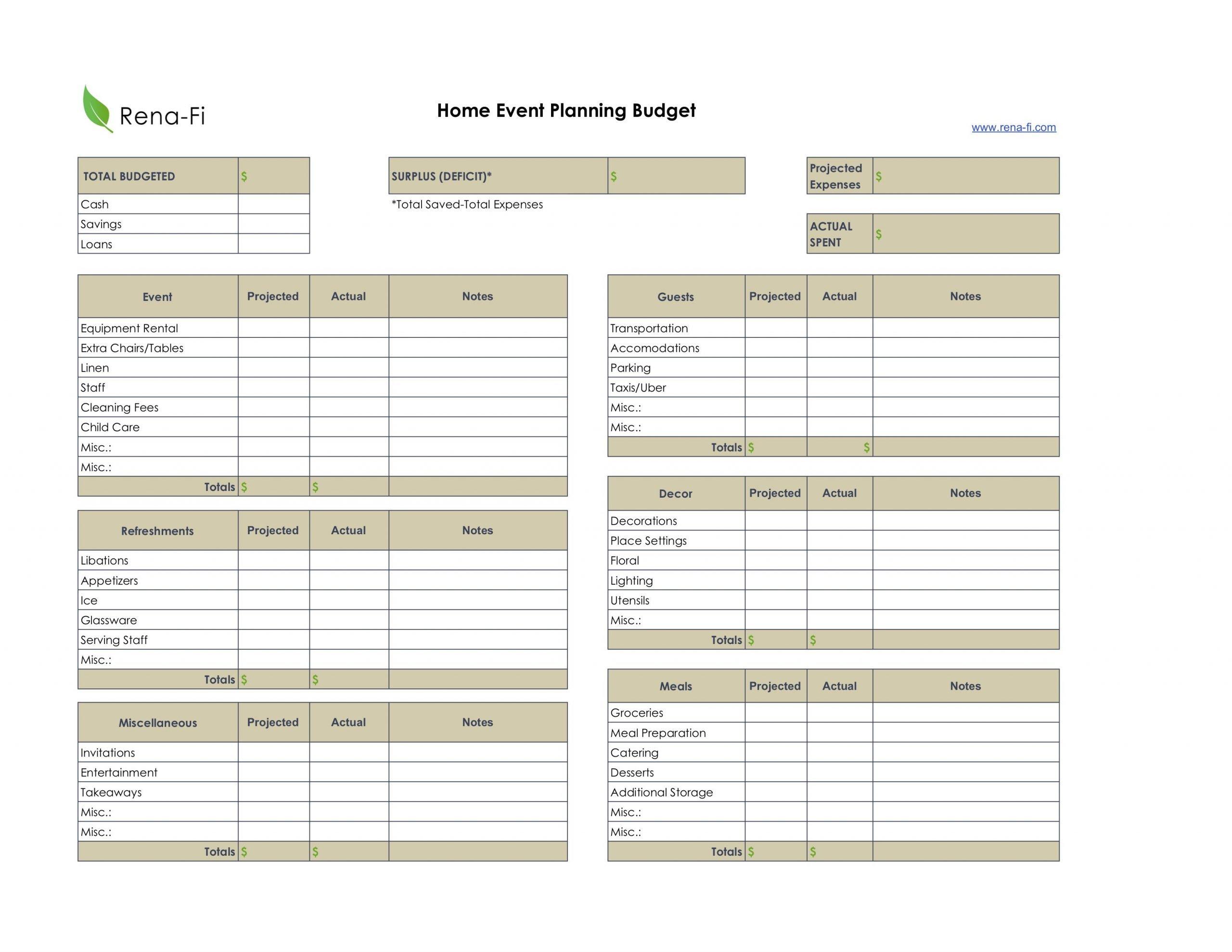 Home Event Planning Budgeting Worksheet Printable Rena Fi