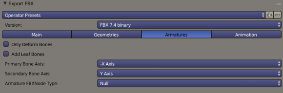 Blender FBX Export Armatures Options