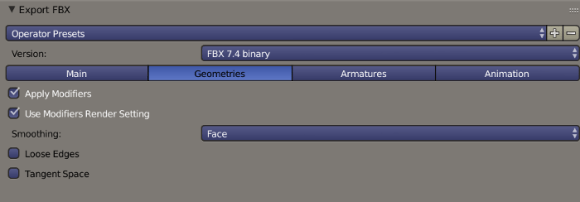 Blender FBX Export Mannequin Geometries Options