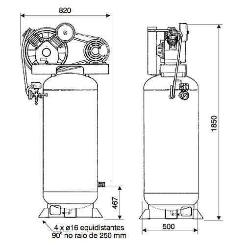 Compresor Libre de Aceite 3HP Vertical
