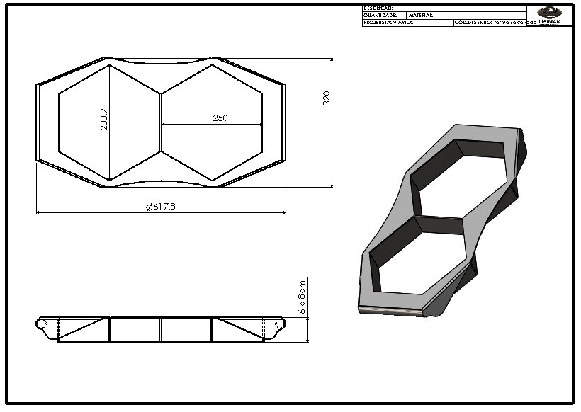 Forma manual p/ paver sextavado de 25 x 6 cm