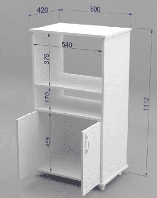 Mueble organizador de cocina con espacio para microondas