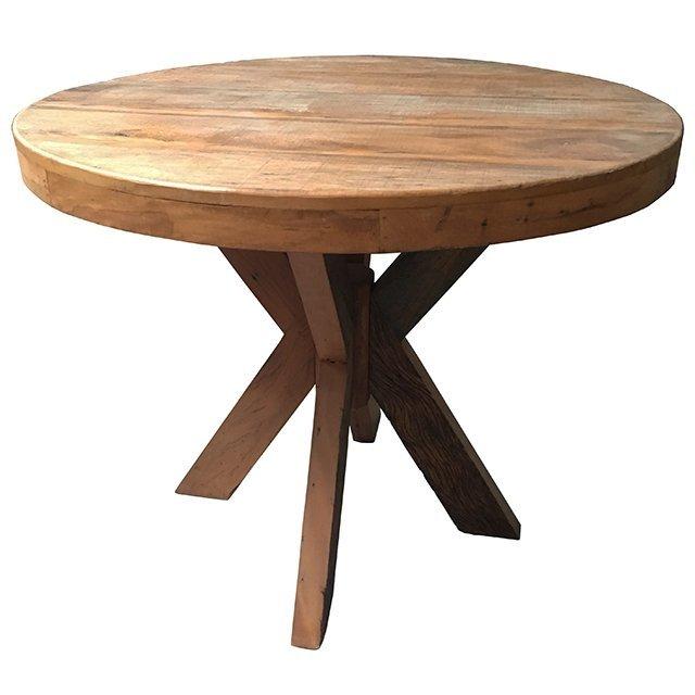 Mesa de jantar redonda rstica em madeira de demolio