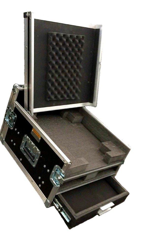 Case rack para mesa de som microfones sem fio e gaveta