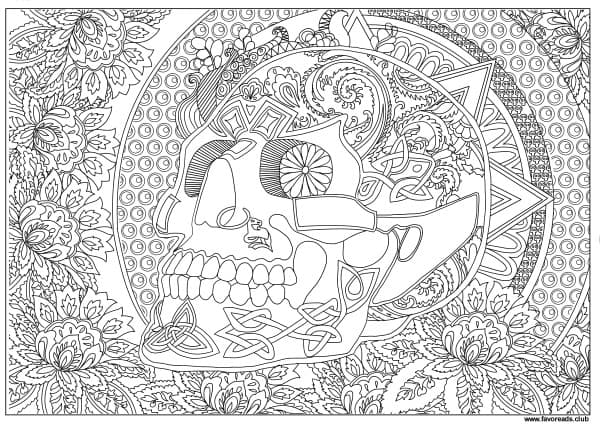 Horror Scenes Sugar Skull Printable Adult Coloring