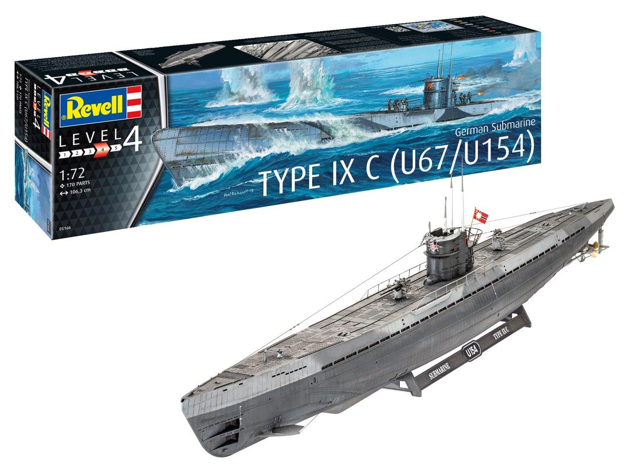 description german submarine type ixc early turret due september 2019 manufacturer revell code number rv5166 scale 1 72 item type ship kits  [ 1280 x 960 Pixel ]