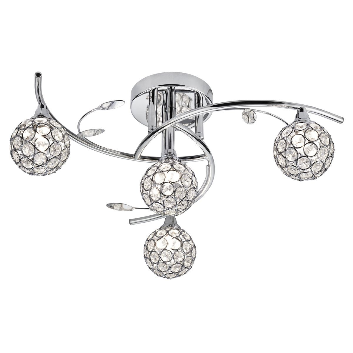 Swirls Semi Flush Ceiling Light With Glass Shades