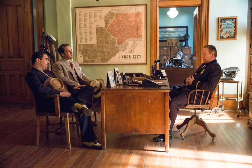 "Ben Affleck as Joe, Chris Messina as Dion Bartolo and Chris Cooper as Irving Figgis in ""Live By Night."" (Courtesy Warner Bros. Pictures)"