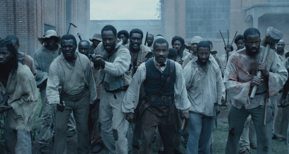 "Colman Domingo as Hark, Nate Parker as Nat Turner and Chike Okonkwo as Will in ""The Birth of a Nation."" (Courtesy Fox Searchlight Pictures)"