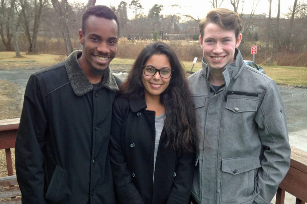 Lorenz Marcellus, left, Ana Lobo and Zachary Wright have all been homeless at some point in their lives. But they are now part of a group of scholars at Bridgewater State University in Massachusetts, who are succeeding in college. (Peter O'Dowd/Here & Now)
