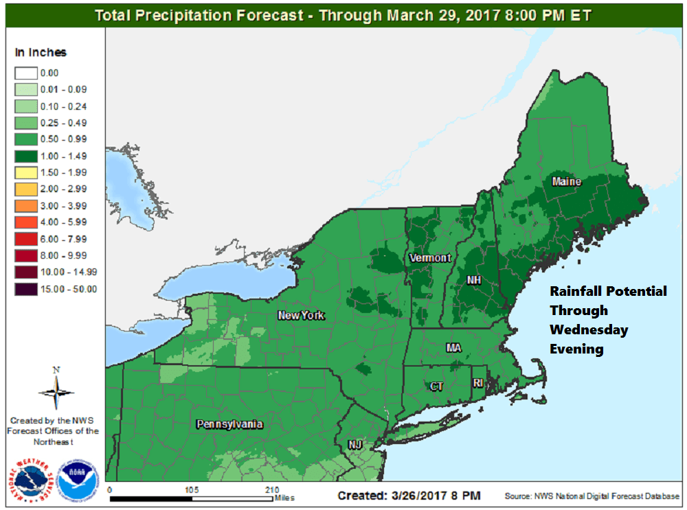 Rainfall today and Tuesday could amount to between half and three-quarters of an inch. (Courtesy NOAA)