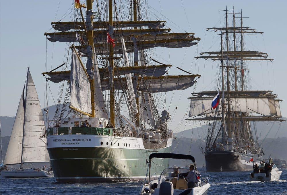 German tall ship Alexander Von Humboldt II, left, follows Russian tall ship Krusenstern, right, during a tall ships regatta off the coast of Toulon, southern France, in 2013. (Claude Paris/AP)