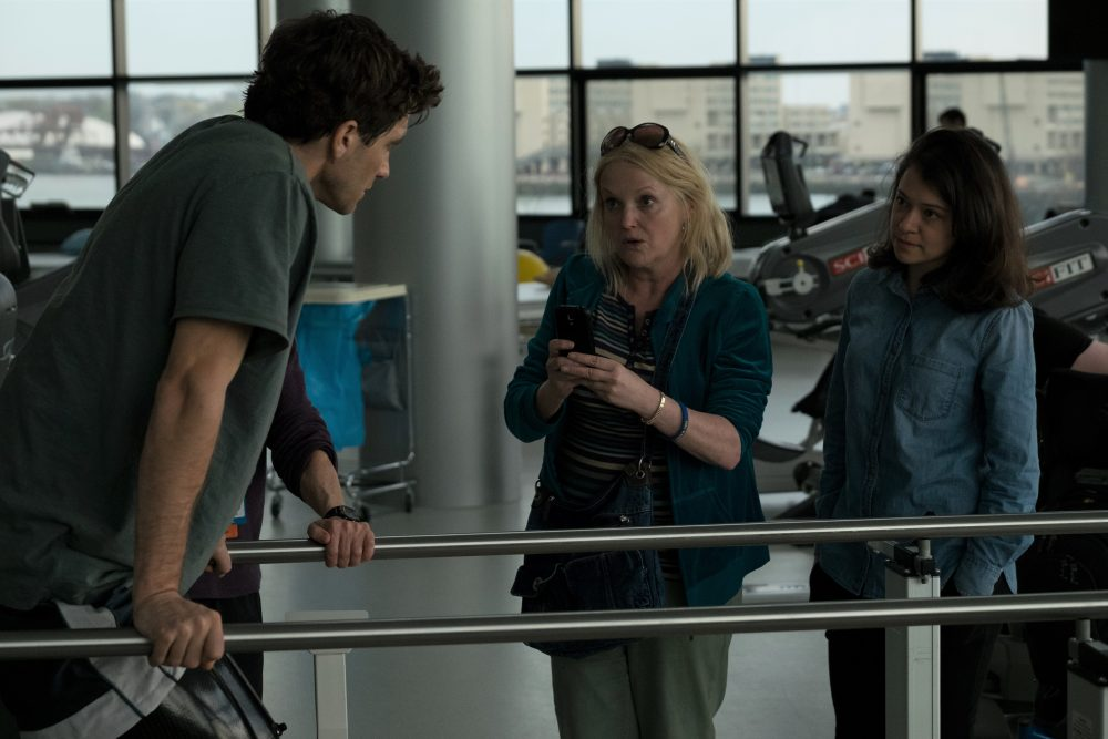 "Jake Gyllenhaal, Miranda Richardson and Tatiana Maslany in ""Stronger."" (Courtesy Scott Garfield/Lionsgate and Roadside Attractions)"