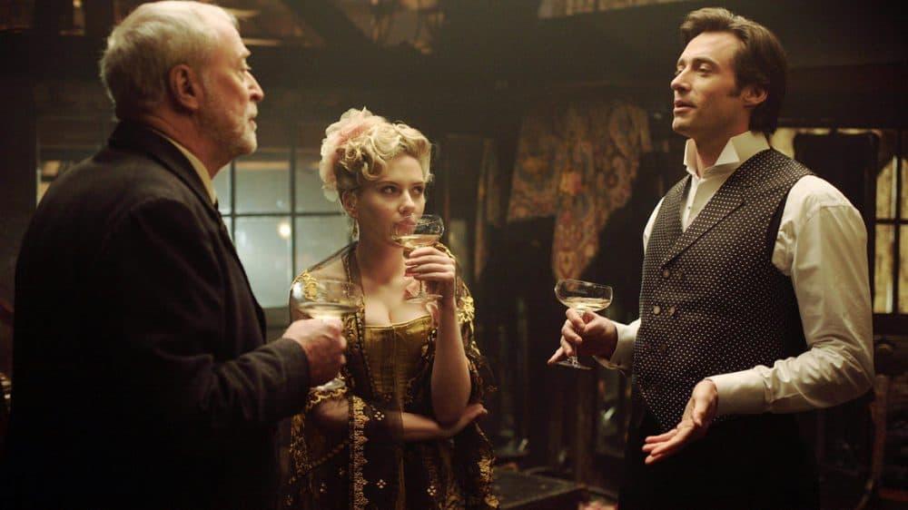 "Michael Caine, Scarlett Johansson and Hugh Jackman in ""The Prestige."" (Courtesy MFA)"