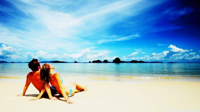Bali Honeymoon in Asia in summer, couple on the beach