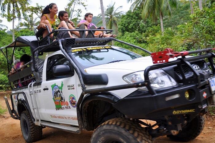 Tourists take a jeep safari in Koh Samui